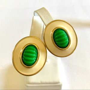 Vtg MONET Statement White and Green Clip Earrings